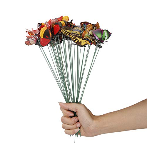 Futurekart Colorful Flying Butterfly On Stick Model Home Garden Lawn Ornament 25Cm 10pcs(Multicolor)