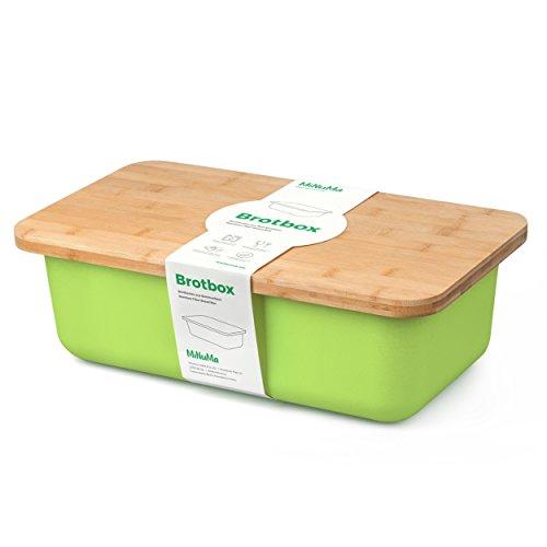Minuma Brotkasten Brotbox aus Bambusfaser mit integriertem Bambusschneidebrett als Deckel (lebensmittelecht) | hellgrün