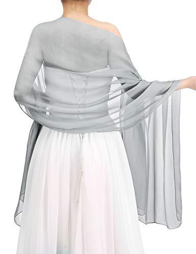 bbonlinedress Schal Chiffon Stola Scarves in verschiedenen Farben Silver 190cmX70cm