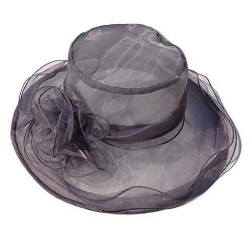 zarupeng✦‿✦ Mujeres elegantes de ala ancha gorras Boda Iglesia Transparente Hilo duro Flor Sombrero para el sol Sombrero de copa