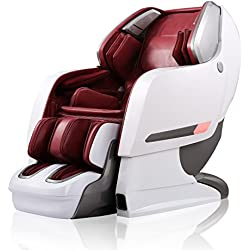 "Luxus Massagesessel ""SPACE-SHUTTLE PLUS"" 3D-Massage Auto-Scan Zero-Gravity Ganzkörperluftkisse Heiztherapie Musik (Weiß-Rot)"