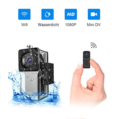 Wasserdichte Wlan Mini Kamera, NIYPS Full HD 1080P Kleine Überwachungskamera, Mikro Wifi Nanny Cam mit Bewegungserkennung und Infrarot Nachtsicht,Innen/Aussen Wireless Weitwinkel IP Sicherheit Kameras