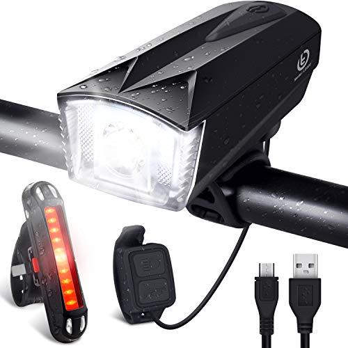 OMERIL Luci LED per Bicicletta Ricaricabili USB con Comando Remoto e Clacson, Super Luminoso Luce...