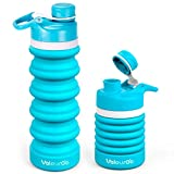 Valourgo Collapsible Sports Water Bottle - Silicone Leak Proof Roll up BPA Free for Travel, 20 oz (aqua blue)