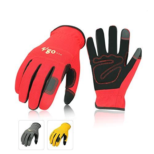 Vgo Glove Guanti, 3 paia, guanti da lavoro in pelle nabuk, guanti da giardinaggio, meccanico, edile,...