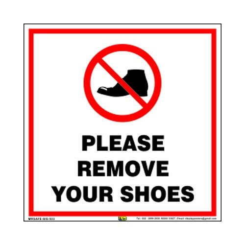 Mr. Safe - Please Remove Your Shoes Sign PVC Sticker 8 inch X 8 inch 4