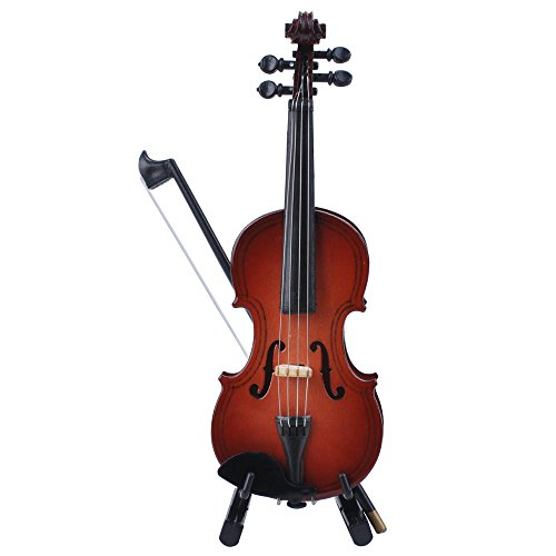 Violino in miniatura con supporto in legno, con archetto e custodia, mini strumento musicale per la