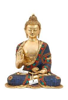 CraftVatika Grande Medicina Estatua de Buda–Budismo latón Azul Tibetano curación Escultura–Hecho a Mano Idol Figura Decorativa de decoración para el hogar