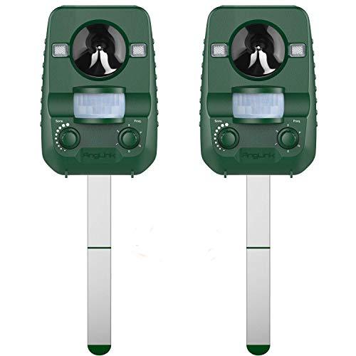 AngLink 2er-Set Solar Katzenschreck Tiervertreiber Wetterfest Ultraschall mit Batteriebetrieben und Blitz | Tierabwehr Hundeschreck und Marderschreck | Waschbärvertreiber Version 2019