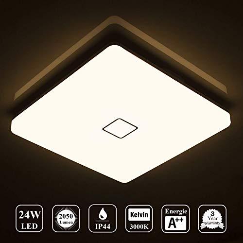 Öuesen 24W LED Lampada Plafoniera impermeabile a soffitto sottile Bianco caldo 3000K per soggiorno...
