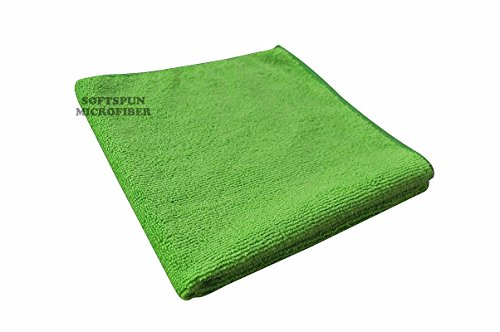 SOFTSPUN Microfiber Cloth - 1 pcs - 40x40 cms - 340 GSM Green - Thick Lint & Streak-Free Multipurpose Cloths - Automotive Microfibre Towels for Car Bike Cleaning Polishing Washing & Detailing
