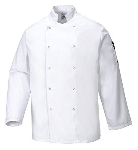 Portwest C833WHRM Giacca da Chef Suffolk, Bianco, M