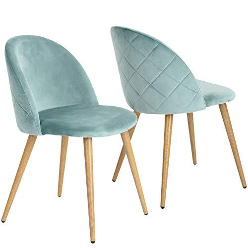 Coavas Esszimmerstühle Küchenstühle Wohnzimmerstühl 2er Set Samt Weich Kissen Sitz und Rücken Mit Hölzernen Metallbeinen Küche Stühle für ESS- und Wohnzimmer, Hellgrün