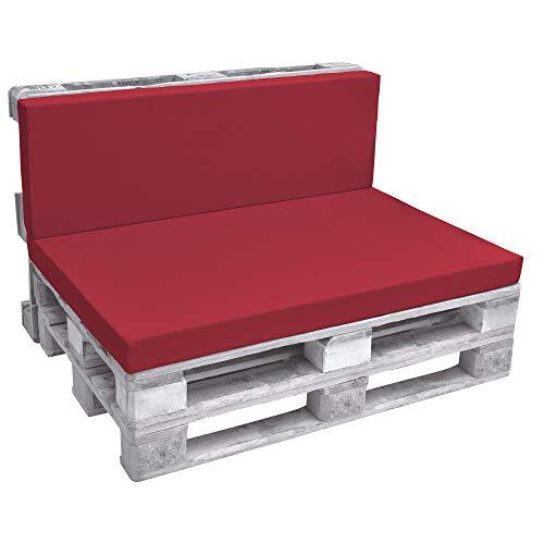 Beautissu Cuscino spalliera per divani con bancali - Eco Pure 120x40x8cm - per divanetti e panche da Giardino - Rosso