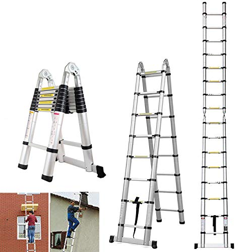 This model is our second best model for those looking for a pair that double as a step ladder. This ladder's 5m height at full extension dwarfs many telescopic ladders out there. The ladder can even fold into an A design for those applications that require increased stability and need to use them like step ladders. Some of its safety-enhancing features include a stabiliser bar, slip-resistant rungs and non-slip bottom caps.