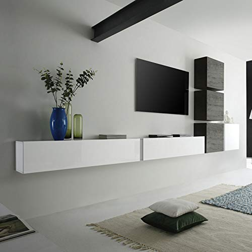 M-012 Mobile TV sospeso Bianco Laccato wengè Moderno Carly