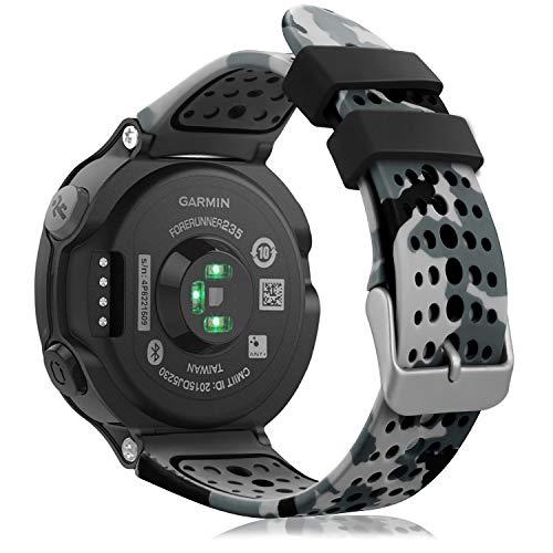 Fintie Cinturino per Garmin Forerunner 235 Watch, Band di ricambio in Silicone Morbido per Garmin Forerunner 235/220/230/620/630/735XT, Camo Gray