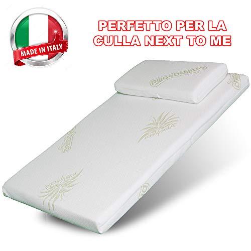Materasso Culla Next to Me Aloe-Culla Neonato-Lettino Bambino-Passeggino Trio-Cuscino Neonati-Culle Bambini- Letto Prima Infanzia- Materassino Universale Antisoffoco Made in Italy 80x40cm (next)