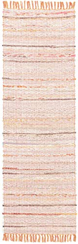CarpetFine: Tappeto Die Lana Kilim Chindi Passatoia 75x240 cm Arancione - Strisce