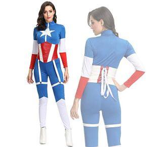 YXRL Halloween CosplayMaravillarse Capitán América Adulto Siamés Etapa Ropa de Superman Blue-M