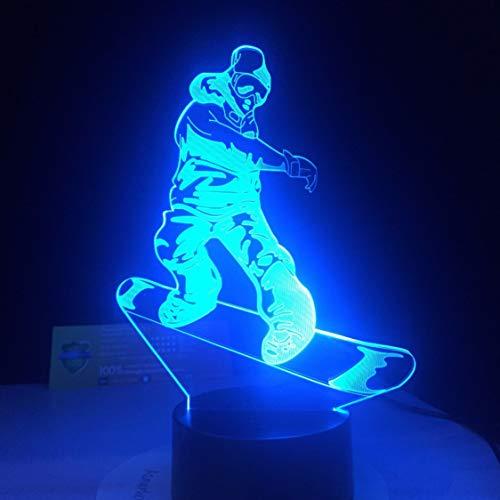 Rjjrr Lampada da snowboard a LED 7 Cambiando colori Lampada da tavolo 3D Illusion Lampada da tavolo...