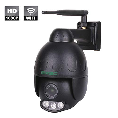 SV3C Telecamera Wi-fi Esterno Senza Fli 1080P PTZ IP Camera con Zoom Ottico 5X, IP66 Impermeabile, 50M Visione Notturna, Supporta TF Card da 128G, Vista a Distanza via Smart Phone/Tablet/PC Windows