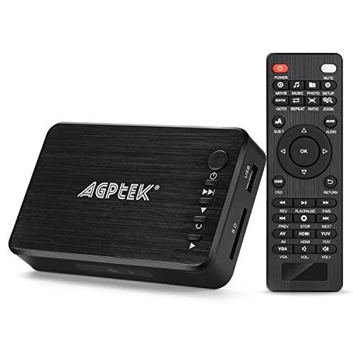 AGPTEK Lettore video Media Player HDMI VGA USB OTG SD AV TV AVI RMVB