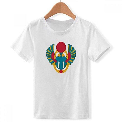 DIYthinker Egipto Antiguo patrón Abstracto Escarabajo de Cuello Redondo Camiseta para Chico Multicolor XX-Grande