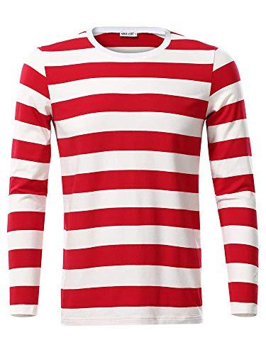 MSBASIC Camisa a Rayas de algodón de Manga Larga Casual para Hombre MD8008-1 X-Large