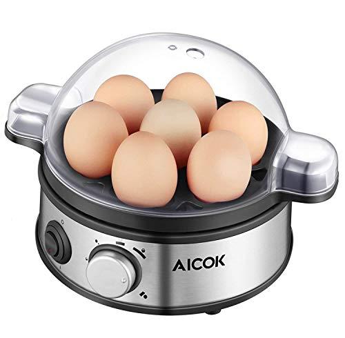 Aicok Fornello per uova elettrico, Egg Egger / Egg Steamer-400 Watt, Acciaio inossidabile, 1-7...