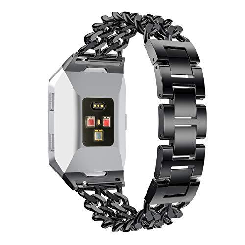 UKCOCO per Cinturino in Metallo Fitbit Ionic, Cinturino da Cowboy Design Womne Men Cinturino in Acciaio Inossidabile di Ricambio Cinturino da Polso Accessori per Fitbit Ionic Smartwatch (Nero)