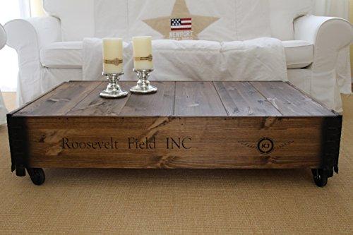 Tavolino basso, effetto baule, in legno, stile vintage shabby chic, in legno massello finitura noce