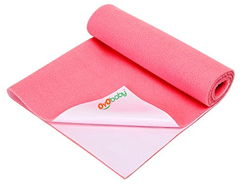 OYO BABY - Water Proof and Reusable Mat/Bed Protector/Absorbent Dry Sheets (70cm X 50cm, Small) - Salmon Rose