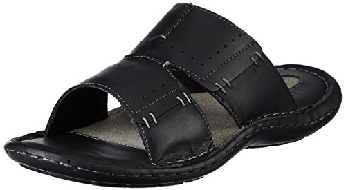 Redtape Men's Black Leather Sandals and Floaters - 9 UK/India (43 EU)
