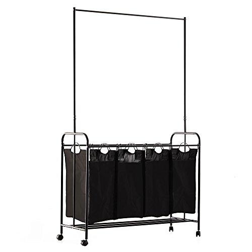 HOMCOM Wäschekorb Wäschesortierer Wäschewagen Kleidungstange 4 Sortiere Fächer Rollen Schwarz 107x41x172cm