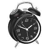 DreamSky Doppelglockenwecker mit Nachtlicht, Lauter Alarm, Wecker Analog mit großes Zifferblatt von 4 Zoll, kein Ticken, geräuschlos, Wecker Batteriebetrieben, Retro Design (Schwarz)