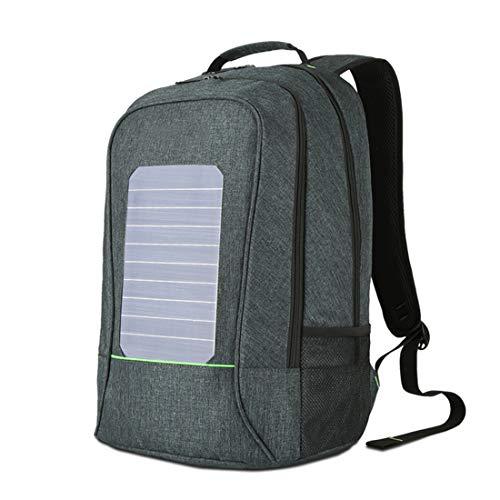 Mochila solar de la computadora impermeable y antirrobo, mochila del ordenador portátil con puerto de carga del USB impermeable viaje mochila de la escuela Daypack para el ordenador portátil ,Green