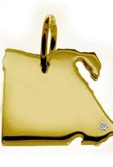 Exclusivo Egipto País tarjeta colgante con brillante en su 0,015(Posición a elegir.)–maciza de oro amarillo 585, Deutsche artesanal–585er Oro de joyas