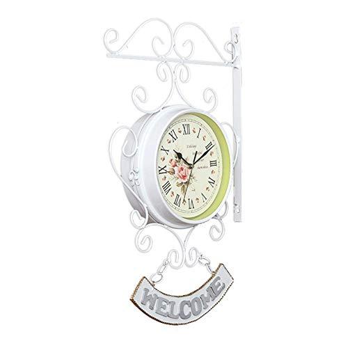 Orologio da Parete a Doppia Faccia Orologio da Parete con Staffa in Metallo Vintage Orologio da Giardino Esterno Orologio da Parete Montato Silenzioso Orologio da Stazione ferroviaria Silenzioso