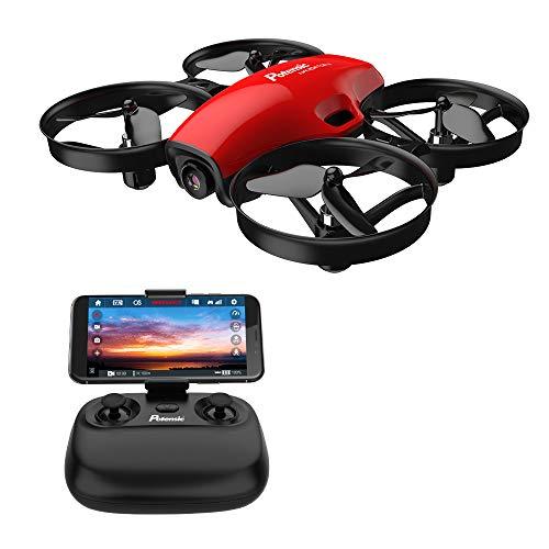 Potensic Drone con Telecamera HD Mini Drone Telecomando A30W Quadricottero WiFi modalità Senza Testa, Adatto per Principianti, Buon Regalo per Bambini (Rosso)