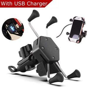 Evermotor Universal Motorrad Handyhalterung Handy Halter mit USB Ladegerät Wasserdicht 360° Rotation X Grip Anti-Schock GPS ATV Roller Moped 3