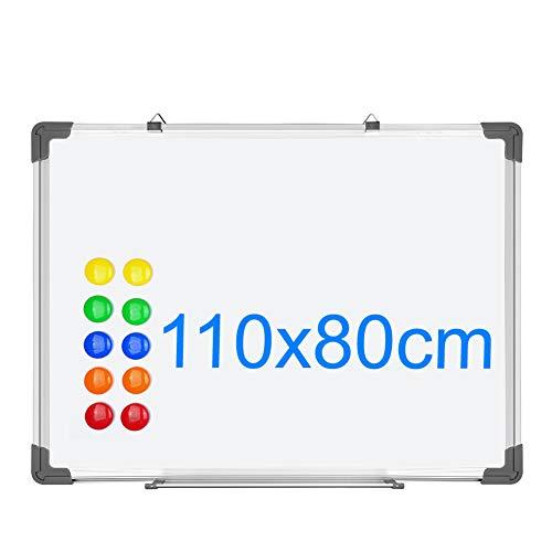 S SIENOC 110x80cm Lavagna Magnetica Doppia Faccia Bianca,Cornice in Alluminio con 12 Magneti per la...