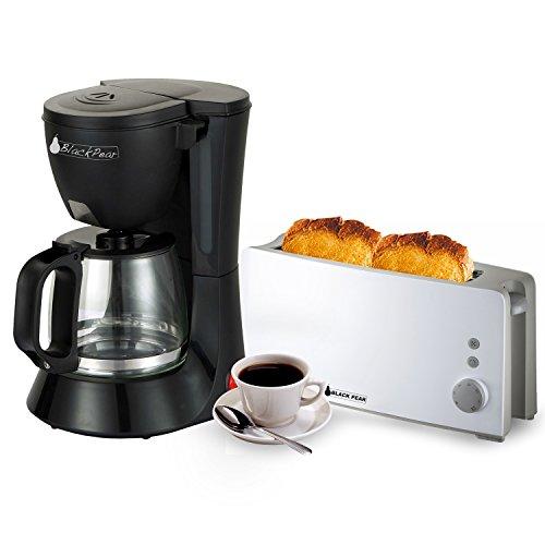 Caffettiera Nero 12tazze 680W + Tostapane 1fessura lunga Bianco 1000W