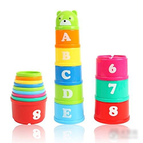 UEETEK conjunto de descubrimiento no tóxico juguetes educativos bebé niño niño mida tazas de apilamiento