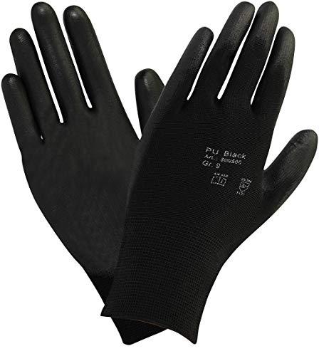10 pares - Guante algodón puntos con un suave recubrimiento de PU - Negro,Talla: 8