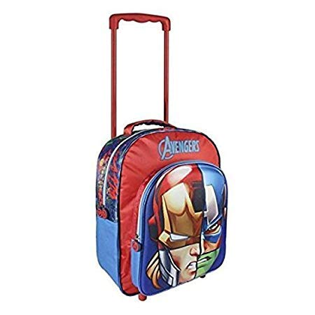 Kids Boys Avengers 3D Holiday Trolley Bag Travel Backpack - Rosso - 41 cm