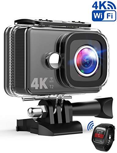 TEC.BEAN Action Camera 14MP Wi-Fi 4K Ultra-HD, Telecamera Sport Impermeabile Fino a 45m, Videocamera con Obiettivo Grandangolare da 170°, Telecomando da 2,4GHz, Batteria Ricaricabile e Kit Accessori
