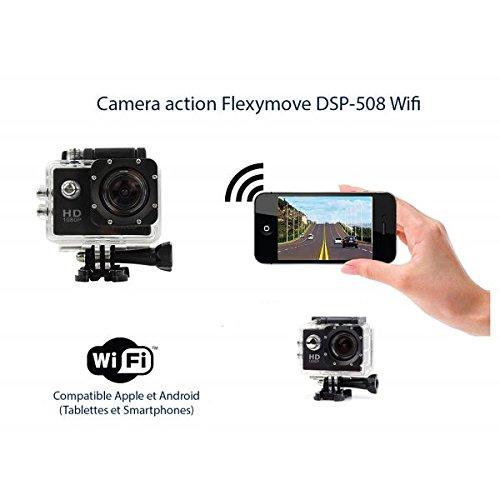 Flexymove Caméra Sport Action Wi-FI Haute Définition Full HD 1080p avec Camescope HD Vidéo DE 12 Mégapixels - Action cam avec Grand Angle