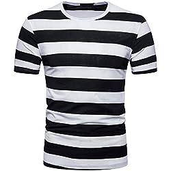 FAMILIZO T Shirts For Men Blusa Hombre Blanca Camisetas Manga Corta Hombre Moda Camisetas Hombre Algodón Camisetas Hombre Verano Blusa Hombre Manga Corta Tops Camisetas Hombre Rayas (S, Negro)