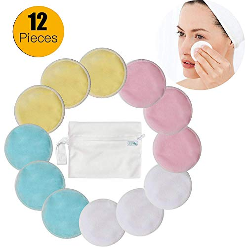 Makeup Entferner Pads - Navly Bambus Abschminkpads, Makeup Cleansingpads mit Wäschebeutel,Superweich Waschbare Wiederverwendbare,Wischt Gesicht Auge Sauber für Frauen Männer(12 Stück)